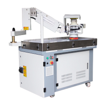 Flexible swing arm deburring and edge rounding machine with vacuum working table
